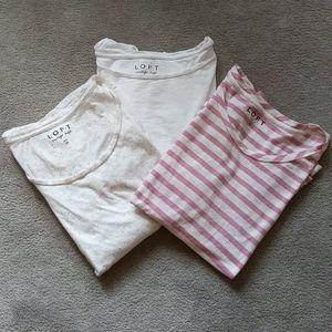 3 loft tees, 2 long sleeve & 1 short sleeve